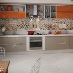 Кухня вашей мечты Фартук для кухни Кухонный фартук из керамической плитки полезные советы материалы характеристика размеры кухонного фартука оранжевая кухня фото