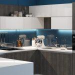 Кухня вашей мечты Фартук для белой кухни полезные советы материалы характеристика размеры кухонного фартука сочетание цветов белая кухня синий фартук фото