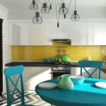 Кухня вашей мечты Фартук для белой кухни полезные советы материалы характеристика размеры кухонного фартука сочетание цветов белая кухня желтый фартук фото