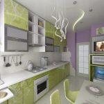 Кухня вашей мечты Бело-зеленая кухня полезные советы материалы характеристика размеры сочетание цветов яркие акценты на белой кухне сиреневые стены фото